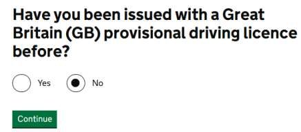 have you been issued with a Great Britian provisional driving licence before?